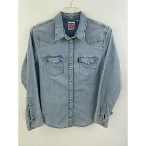 Levis XL Women Denim Jean Shirt Peal Snap  B42-14